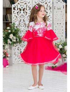 Платье нарядное малинового цвета с пышными рукавами Сесиль