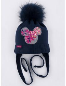 """Шапка зимняя темно-синяя для девочек с помпоном и завязками """"Mouse"""""""
