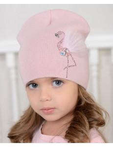 Шапка для девочек светло-розового цвета РОЗОВЫЙ ФЛАМИНГО