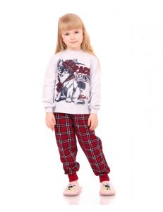 """Пижама с длинным рукавом в красную клетку """"Волчонок"""""""